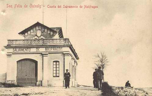 Caseta de la Junta Local de Salvament de Nàufrags cap al 1900.